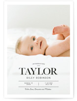 This is a black petite birth announcement by Aaelia Creative Lab. called Cover Kid with standard printing on signature in petite.