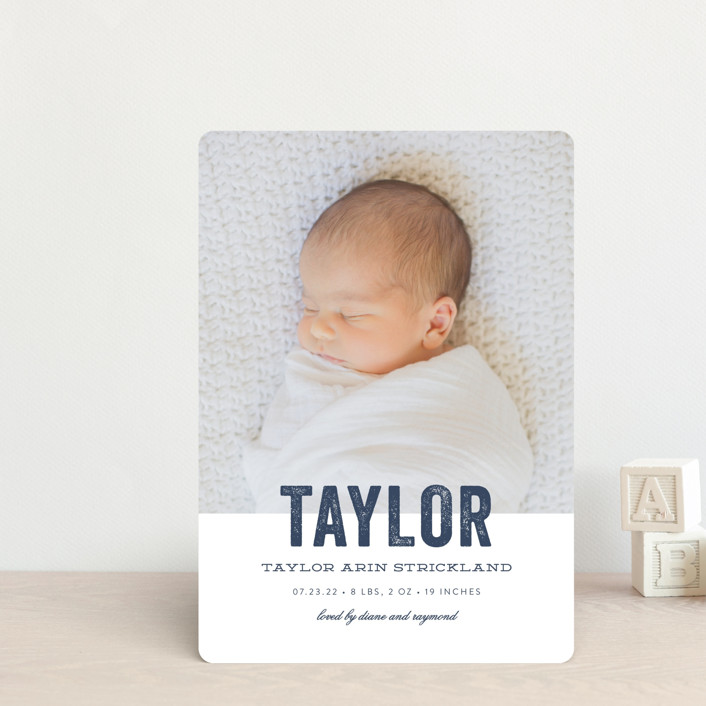 """Statement"" - Birth Announcement Petite Cards in Marine by Sara Hicks Malone."