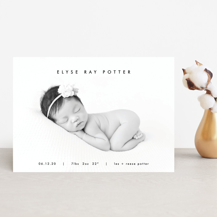 """mod minimalist"" - Birth Announcement Petite Cards in Noir by AK Graphics."