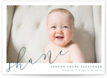 This is a blue petite birth announcement by Kristie Kern called Minimal Modern with standard printing on smooth signature in petite.
