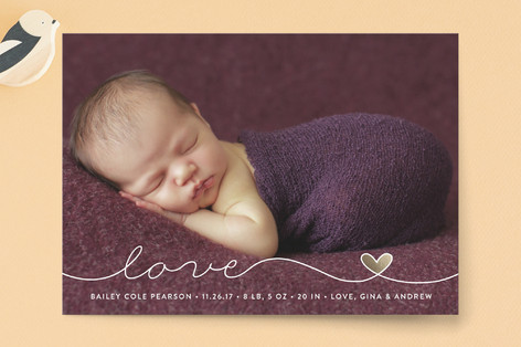 Scripted Love Birth Announcement Petite Cards