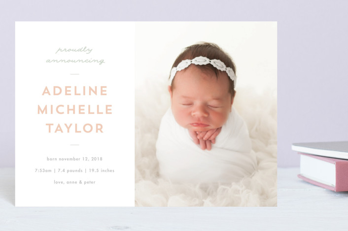 """""""Sweet News"""" - Preppy Birth Announcement Petite Cards in Peach by JoAnn Jinks."""