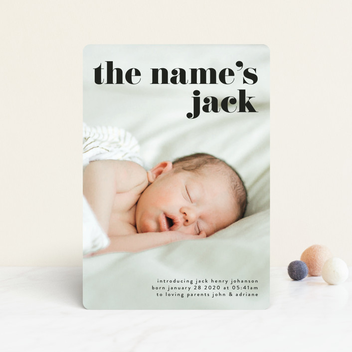 """""""the name"""" - Funny, Modern Birth Announcement Petite Cards in Noir by Phrosne Ras."""