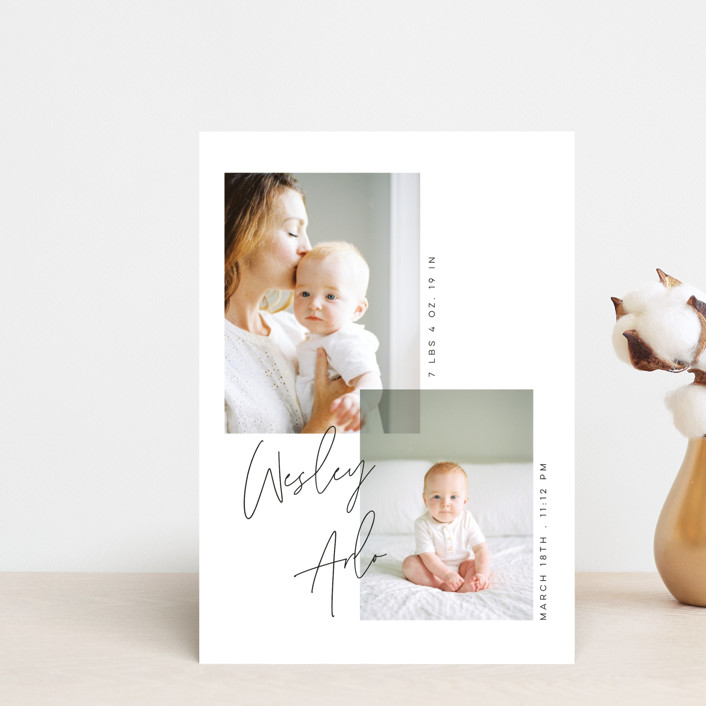 """""""Overlapped"""" - Birth Announcement Petite Cards in Noir by Morgan Kendall."""
