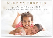 This is a brown petite birth announcement by Anupama called Sister love with standard printing on signature in petite.