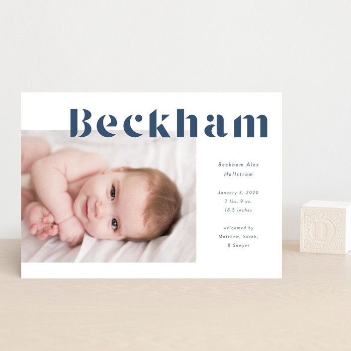 """Geo Type"" - Birth Announcement Petite Cards in Pacific by Kacey Kendrick Wagner."