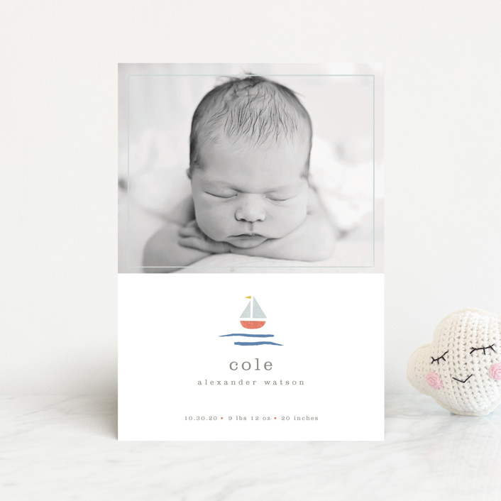 """sailor"" - Preppy Birth Announcement Petite Cards in Marina by Shannon Hays."