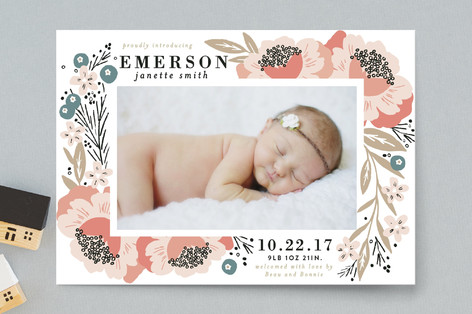 Floral Corner Frame Birth Announcement Petite Cards