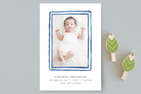 Watercolor Frame Birth Announcement Petite Cards