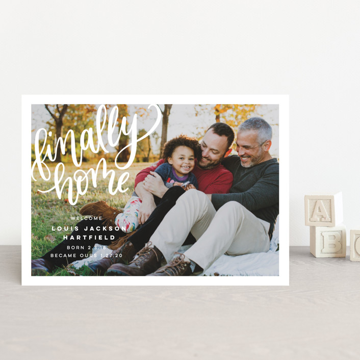 """""""Finally Home"""" - Modern Birth Announcement Petite Cards in Snow by Pink House Press."""
