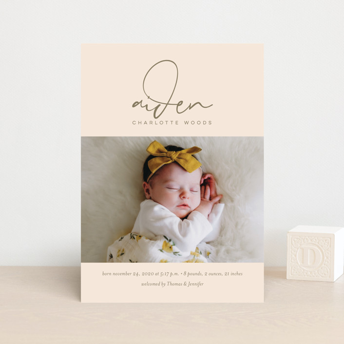 """Signature Babe"" - Modern Birth Announcement Petite Cards in Peach by Jessica Williams."
