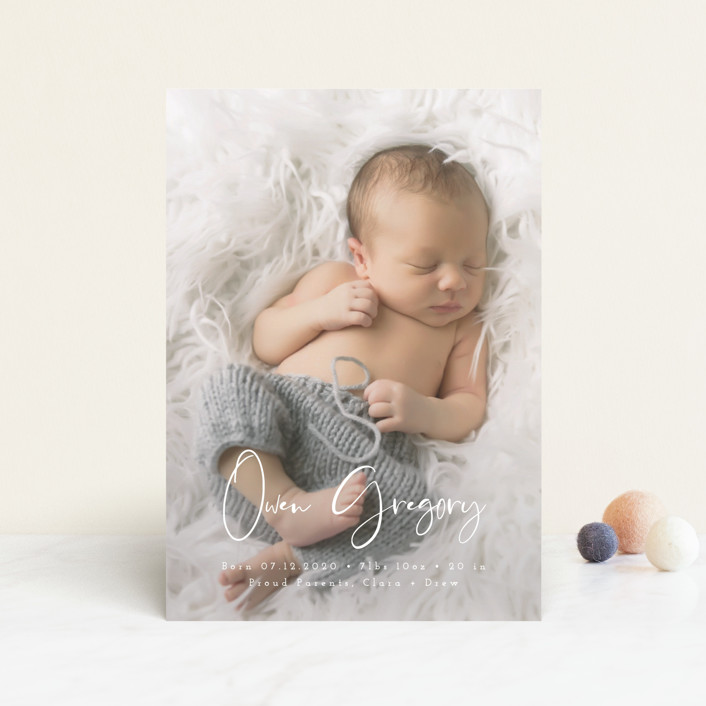 """""""Simply Welcomed"""" - Modern Birth Announcement Petite Cards in Pearl by Maria Hilas Louie."""