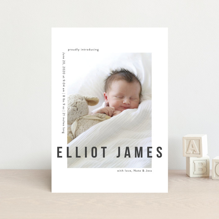 """Pure Love"" - Modern Birth Announcement Petite Cards in Slate by Kasia Labocki."