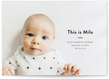 This is a black petite birth announcement by Dozi called This Is Me with standard printing on signature in petite.
