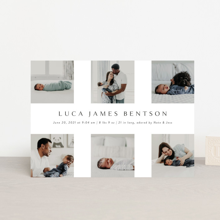 """""""love multiplied"""" - Birth Announcement Petite Cards in Onyx by Kasia Labocki."""