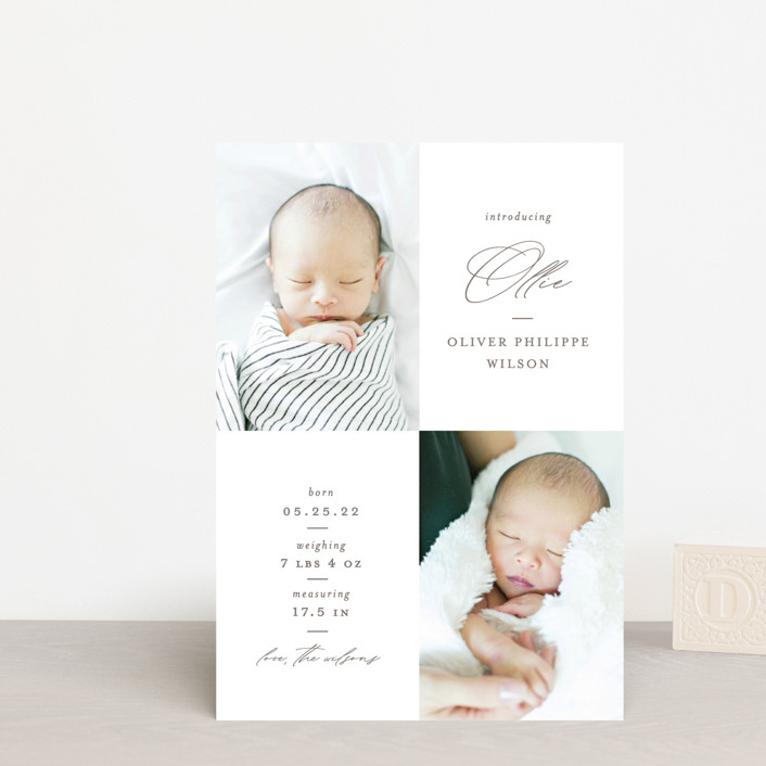 """Ollie"" - Birth Announcement Petite Cards in Hickory by Mansi Verma."