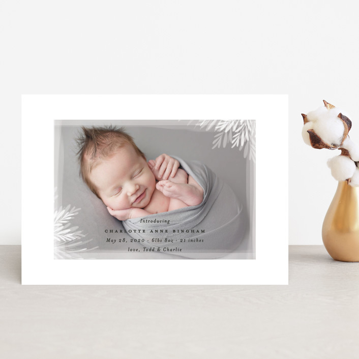 """whispering botanicals"" - Birth Announcement Petite Cards in Cotton by Faith Dorn."
