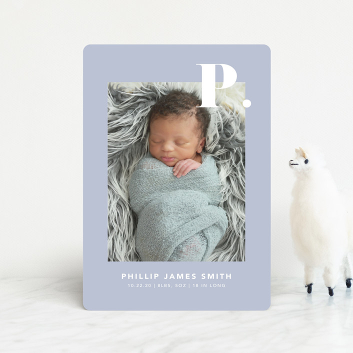 """Bold Capital"" - Preppy Birth Announcement Petite Cards in Periwinkle by Kristen Smith."