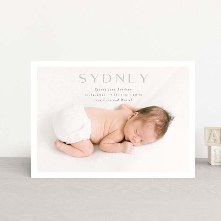 """serene debut"" - Birth Announcement Petite Cards in Cloud by Rebecca Durflinger."