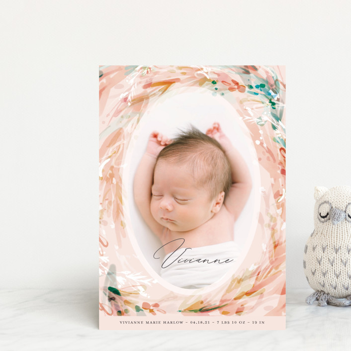 """Orsay"" - Birth Announcement Petite Cards in Coral by Kaydi Bishop."