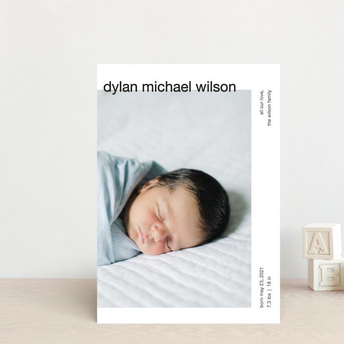 """modern header"" - Birth Announcement Petite Cards in Noir by JoAnn Jinks."