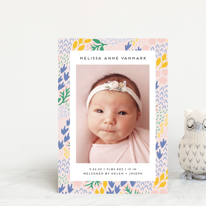 """Little Foliage"" - Birth Announcement Petite Cards in Blush by Genna Blackburn."