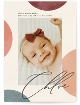 This is a colorful petite birth announcement by Kelly Schmidt called Abstract Dots with standard printing on signature in petite.