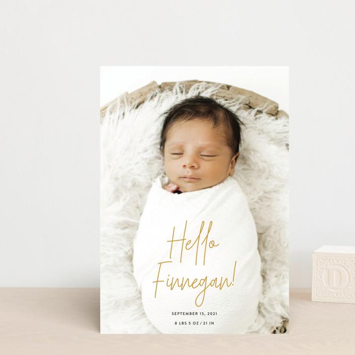 """Hello Everyone"" - Birth Announcement Petite Cards in Mustard by Ashley Rosenbaum."
