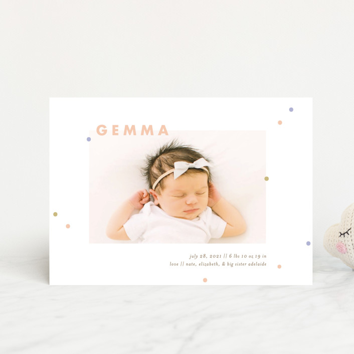 """""""dottie"""" - Birth Announcement Petite Cards in Melon by Julie Murray."""