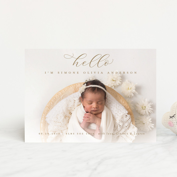 """""""Hello There"""" - Birth Announcement Petite Cards in Sand by Michelle Taylor."""