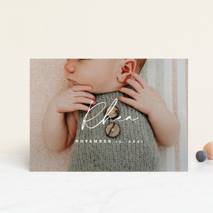 """""""Simplest"""" - Modern Birth Announcement Petite Cards in Petal by Rebecca Daublin."""