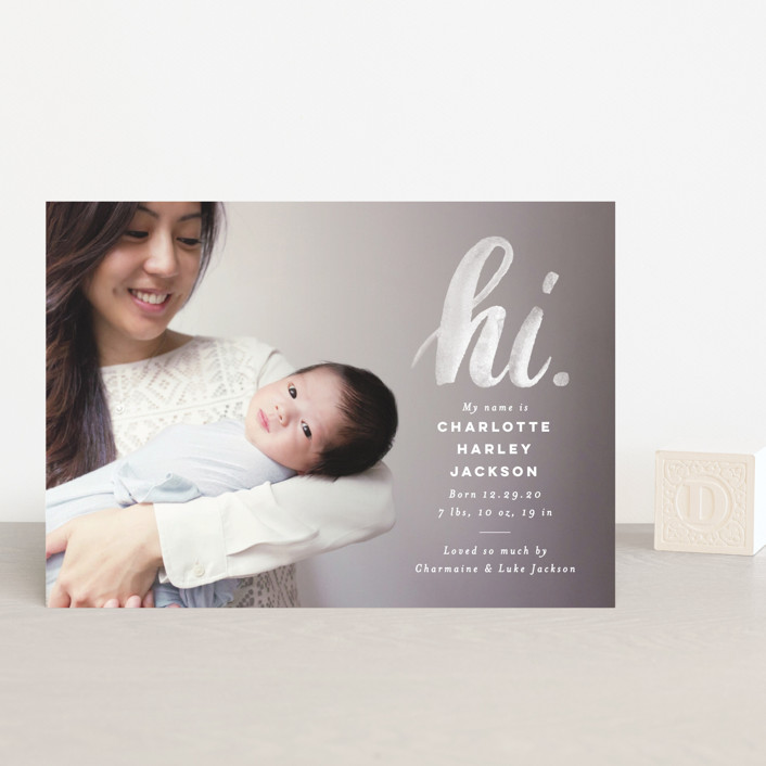 """""""hi."""" - Modern Birth Announcement Petite Cards in Ice by Pink House Press."""