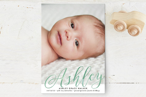 Paint Swash Name Birth Announcement Petite Cards