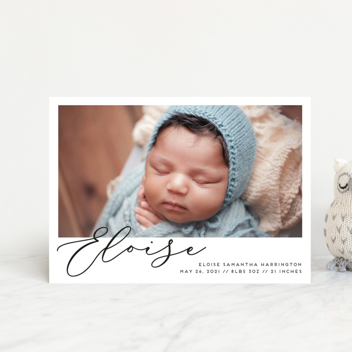 """First-Name Basis"" - Birth Announcement Petite Cards in Onyx by Genna Blackburn."