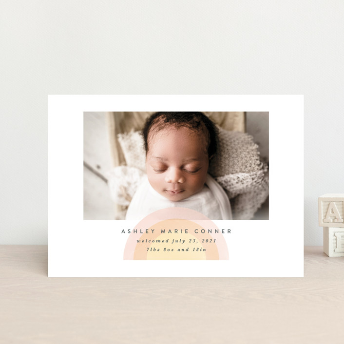 """""""our rainbow"""" - Birth Announcement Petite Cards in Rose by Angela Garrick."""