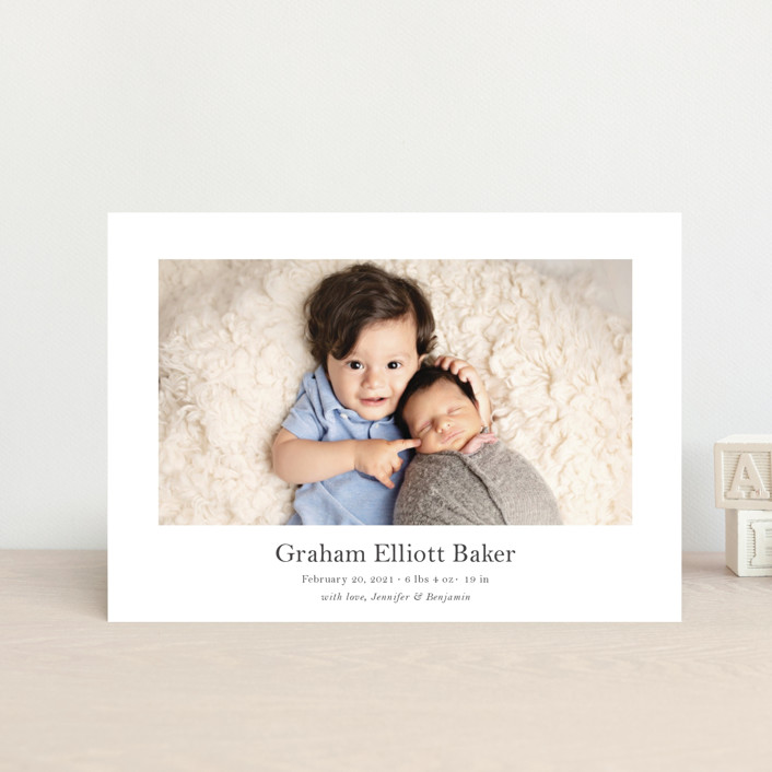 """""""Helm"""" - Birth Announcement Petite Cards in Shadow by Toast & Laurel."""