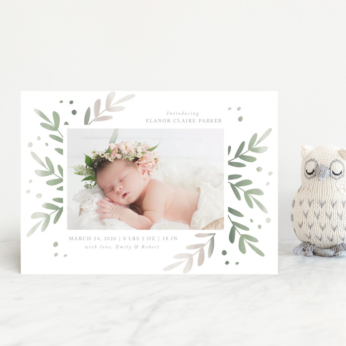 """Foliage Frame"" - Birth Announcement Petite Cards in Sage by Roopali."