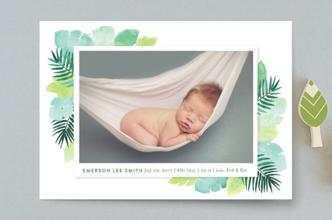 Tropical Foilage Birth Announcement Petite Cards