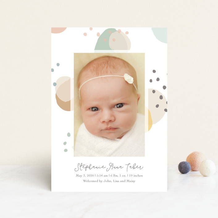 """""""Dreamy Bubbles"""" - Modern Birth Announcement Petite Cards in Eggnog by Betsy Siber."""