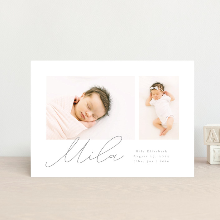 """""""New Addition"""" - Modern Birth Announcement Petite Cards in Stone by Angela Thompson."""