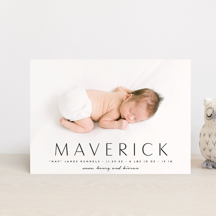 """""""Straight Forward"""" - Birth Announcement Petite Cards in Ebony by Kaydi Bishop."""