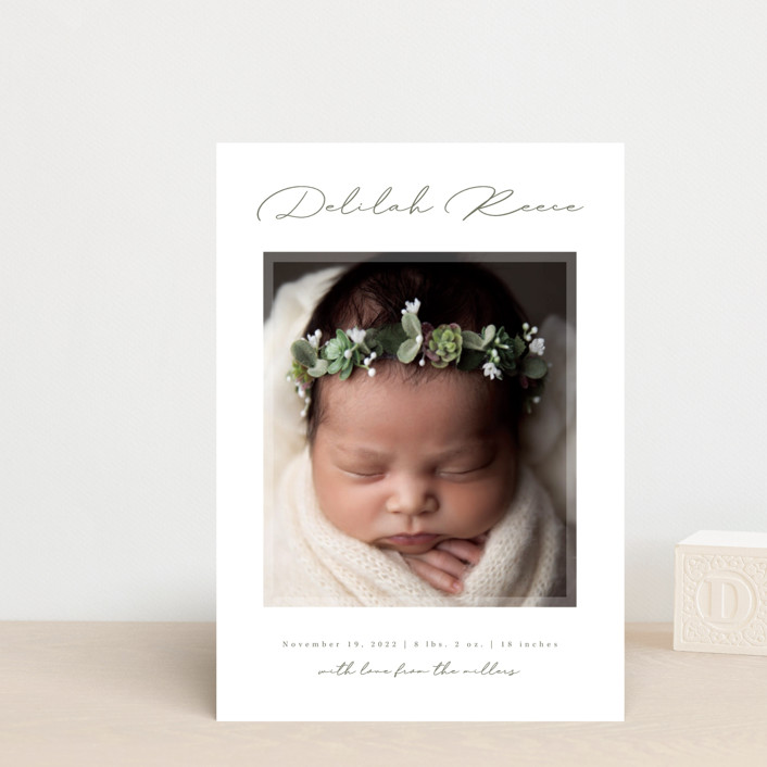 """Delilah"" - Birth Announcement Petite Cards in Sage by Kacey Kendrick Wagner."