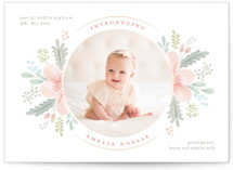 This is a pink petite birth announcement by Nicole Barreto called Darling Posy with standard printing on signature in petite.