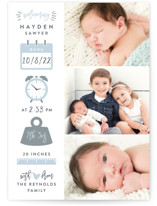 This is a blue petite birth announcement by Hooray Creative called Measures Of Love with standard printing on smooth signature in petite.