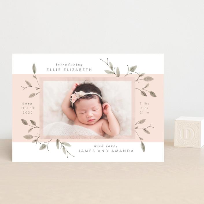 """""""Petite"""" - Birth Announcement Petite Cards in Blush by JeAnna Casper."""