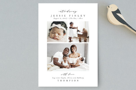 Elegant Collage Birth Announcement Petite Cards
