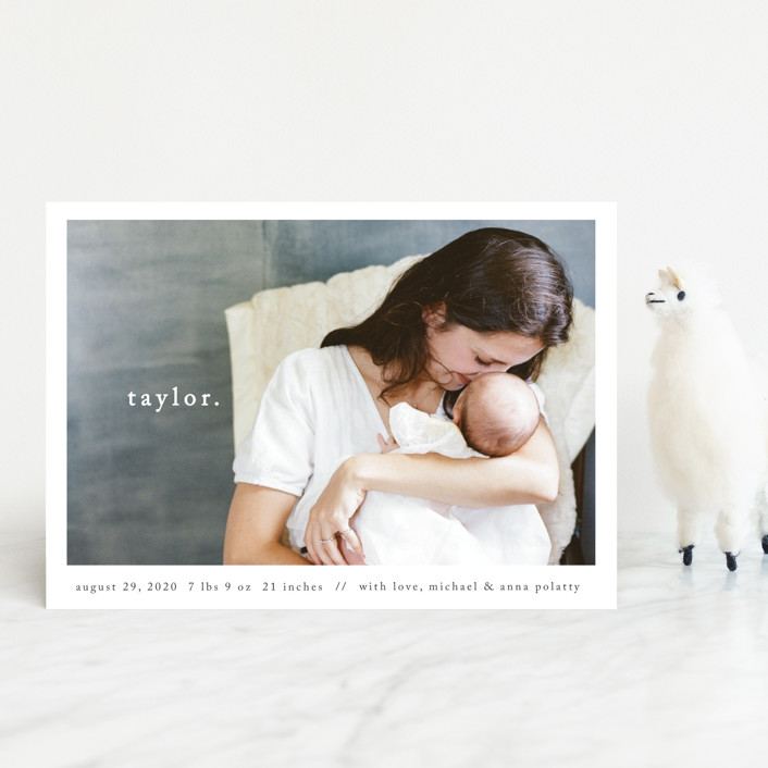"""""""Simple Type"""" - Modern Birth Announcement Petite Cards in Midnight by Faith Dorn."""