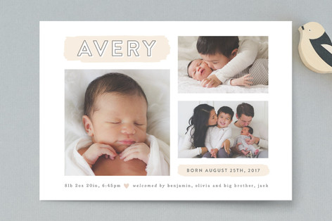 The Trio Birth Announcement Petite Cards
