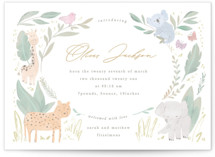 This is a yellow petite birth announcement by Creo Study called Safari kid with standard printing on signature in petite.