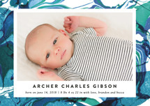 Marbled Frame Birth Announcement Petite Cards